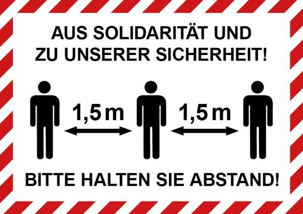 """infektionsschutz-bayern Schild/Hinweistafel DINA4 """"Aus Solidarität und zu unserer Sicherheit! Bitte Abstand ..."""""""