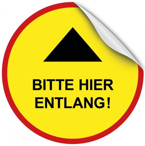 """infektionsschutz-bayern Bodenaufkleber/Antirutschaufkleber Indoor 50 cm rund """"Pfeil - Bitte hier entlang!"""""""