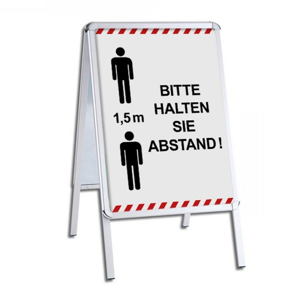 """infektionsschutz-bayern Kundenstopper / Patientenstopper """"Bitte 1,5 m Abstand halten!"""" - mit Männchen"""
