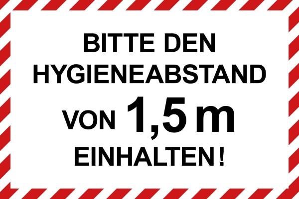 """infektionsschutz-bayern Schild/Hinweistafel 60x40 cm """"Bitte den Hygieneabstand von 1,5 m einhalten!"""""""