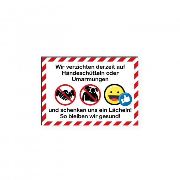 """infektionsschutz-bayern Kids Schild/Hinweistafel DINA4 """"Wir verzichten auf Händeschüttlen und Umarmungen!"""""""