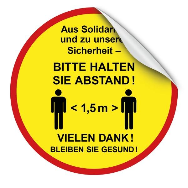 """infektionsschutz-bayern Bodenaufkleber/Antirutschaufkleber Indoor 50 cm rund """"Aus Solidarität - 1,5 m Abstand!"""""""