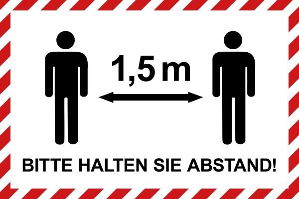 """infektionsschutz-bayern Schild/Hinweistafel 60x40 cm """"Bitte 1,5 m Abstand halten!"""" - mit Männchen"""