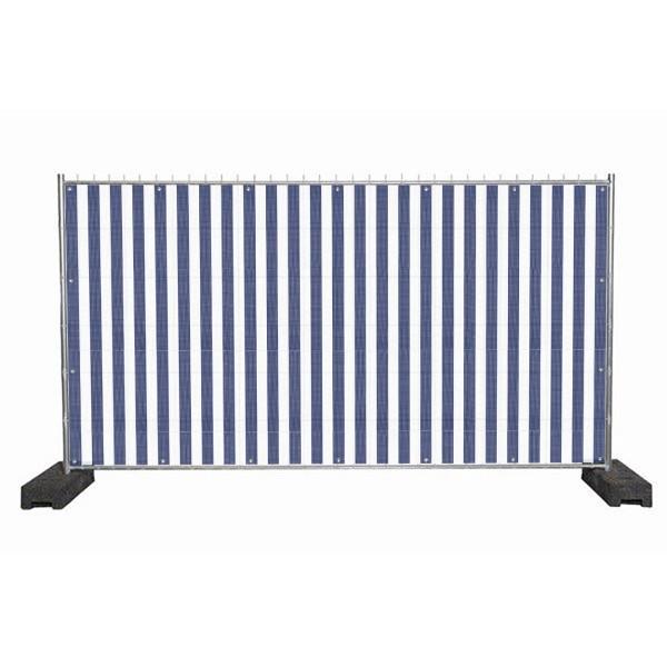 """infektionsschutz-bayern Sichtschutz-Banner 340 x 172 cm Mesh-Material, mit Ösen alle 50 cm """"Streifen blau-weiss"""""""
