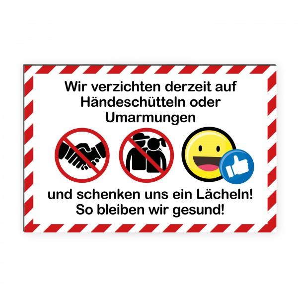 """infektionsschutz-bayernKids Schild/Hinweistafel 60x40 cm """"Wir verzichten auf Händeschüttlen und Umarmungen!"""""""