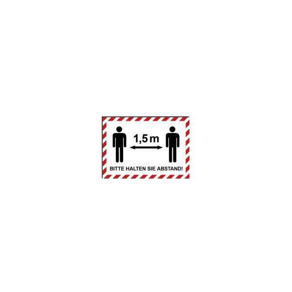 """infektionsschutz-bayern Schild/Hinweistafel DINA4 """"Bitte 1,5 m Abstand halten!"""" - mit Männchen"""