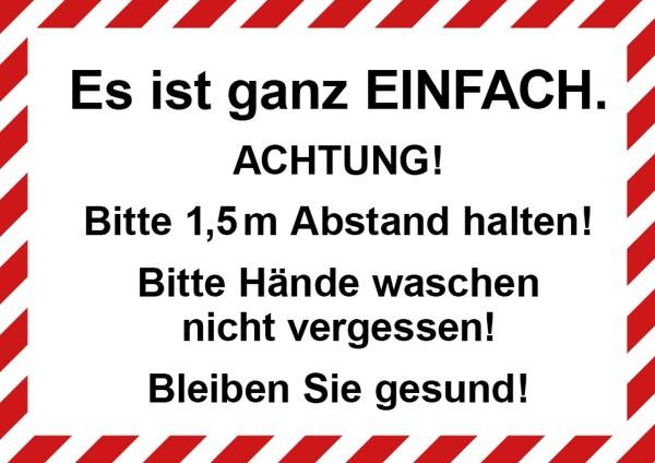 """infektionsschutz-bayern Schild/Hinweistafel DINA4 """"Es ist ganz EINFACH Achtung! Bitte Abstand ..."""""""