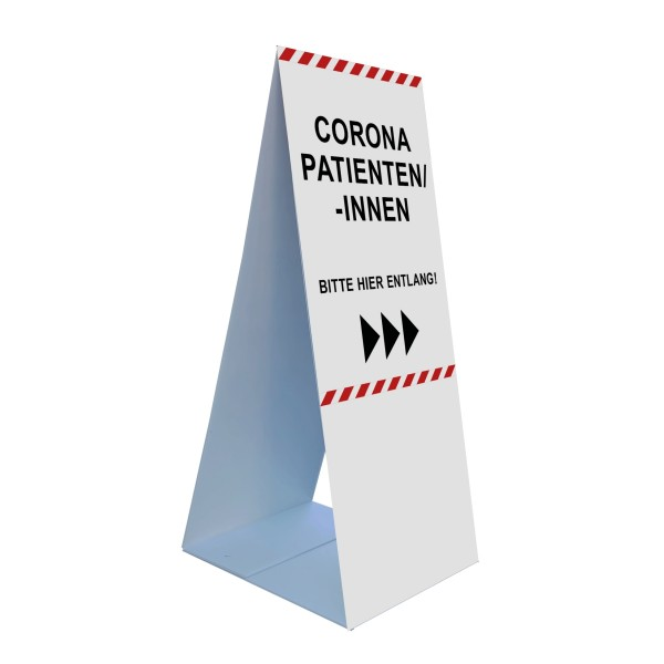 """infektionsschutz-bayern Bodenaufsteller 45 x 105 cm """"Corona-Patienten/-innen, Bitte hier entlang rechts""""/links"""
