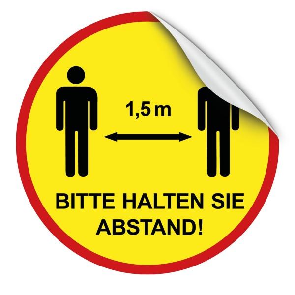 """infektionsschutz-bayern Bodenaufkleber/Antirutschaufkleber Indoor 50cm rund """"Bitte 1,5 m Abstand halten!"""" - mit Mä"""
