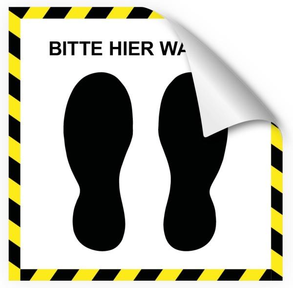 """infektionsschutz-bayern Bodenaufkleber/Antirutschaufkleber Indoor """"Fussabdrücke, Bitte hier warten!"""""""