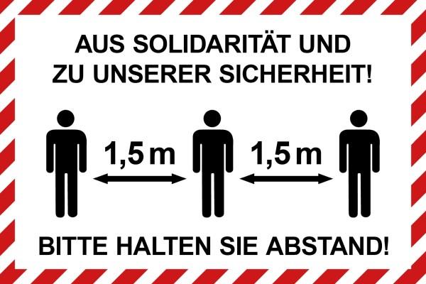 """infektionsschutz-bayern Schild/Hinweistafel 60x40 cm """"Aus Solidarität und zu unserer Sicherheit! Bitte Abstand ..."""""""