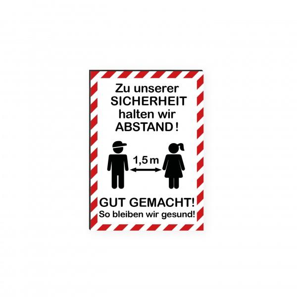 """infektionsschutz-bayern Kids Schild/Hinweistafel DINA4 Hochformat """"Zu unserer Sicherheit halten wir Abstand! Gut gemacht!"""""""