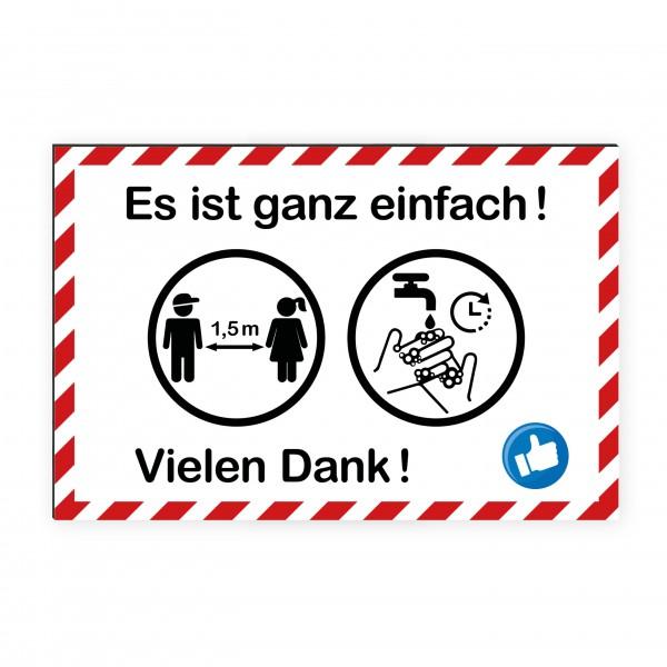 """infektionsschutz-bayern Kids Schild/Hinweistafel 60x40 cm """"Es ist ganz einfach!"""""""