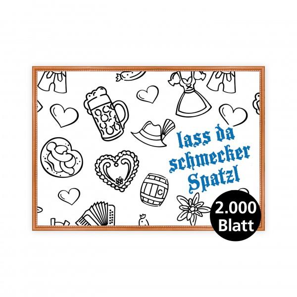 """infektionsschutz-bayern Papiertischset """"Kids Lass da schmecker Spatzl blau"""""""