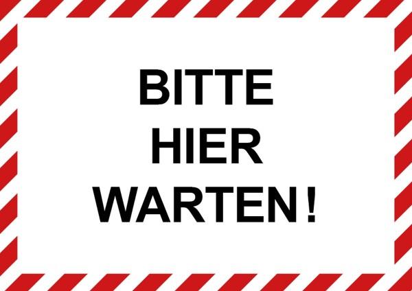 "infektionsschutz-bayern Aufkleber DINA4 Selbstklebefolie matt ""Bitte hier warten!"""