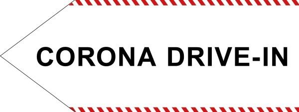"infektionsschutz-bayern Schild/Hinweispfeil 80x30 cm ""CORONA DRIVE-IN"" - Links"