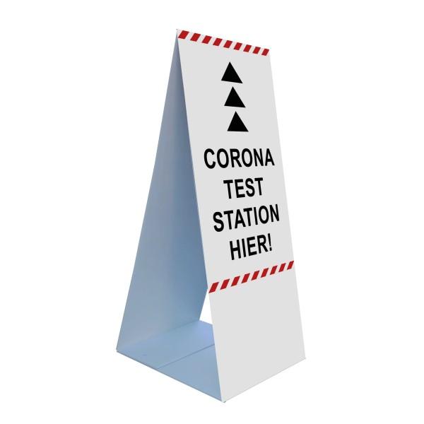 """infektionsschutz-bayern Bodenaufsteller 45 x 105 cm """"Corona Teststation Hier"""" - Pfeil nach oben"""