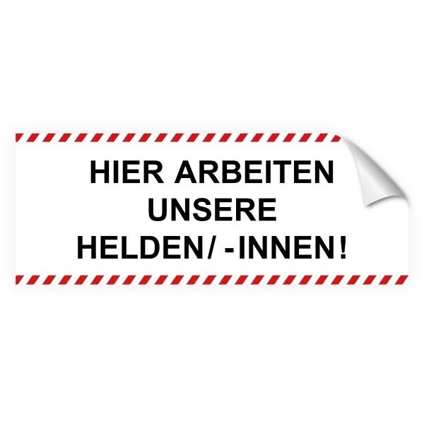 """infektionsschutz-bayern Sichtschutz-Aufkleber 130 x 50 cm Selbstklebefolie matt """"Hier arbeiten unsere Helden/ -Innen!"""""""