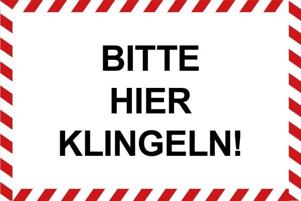 """infektionsschutz-bayern Schild/Hinweistafel 60x40 cm """"Bitte hier klingeln!"""""""