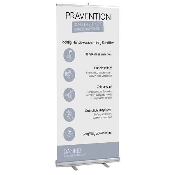 """infektionsschutz-bayern Info Roll-Up 100x200 cm """"Richtig Händewaschen"""""""