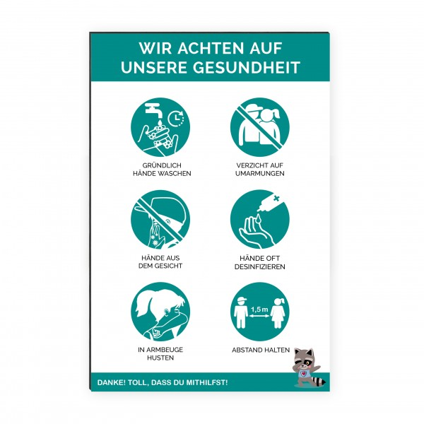 """infektionsschutz-bayern Kids Schild/Hinweistafel 40x60cm """"Wir achten auf unsere Gesundheit"""""""