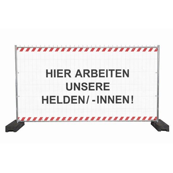 """infektionsschutz-bayern Sichtschutz-Banner 340x172 cm Mesh-Material, mit Ösen """"Hier arbeiten unsere Helden/ -Innen!"""""""
