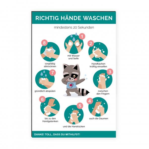 """infektionsschutz-bayern Kids Schild/Hinweistafel 40x60cm """"Richtig Hände waschen"""""""