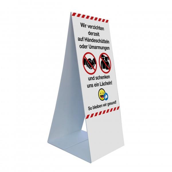 """infektionsschutz-bayern Kids Bodenaufsteller 45 x 105 cm """"Wir verzichten auf Händeschüttlen und Umarmungen!"""""""