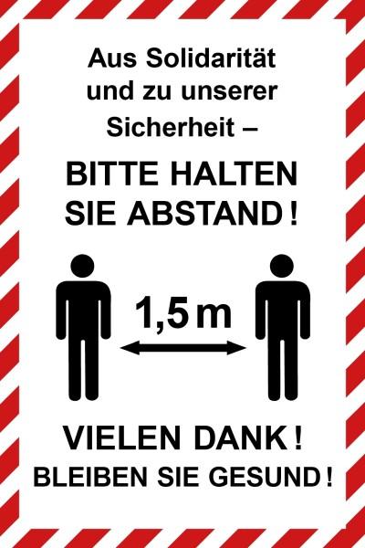 """infektionsschutz-bayern Schild/Hinweistafel 40x60 cm Hochformat """"Aus Solidarität und zu unserer Sicherheit! Bitte Abstand ..."""""""