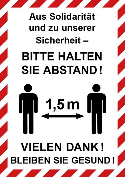 """infektionsschutz-bayern Schild/Hinweistafel DINA4 Hochformat """"Aus Solidarität und zu unserer Sicherheit! Bitte Abstand ..."""""""