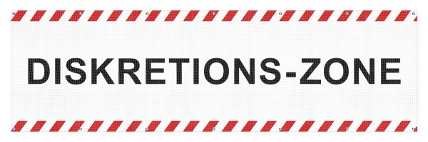 """infektionsschutz-bayern Sichtschutz-Banner 300 x 90 cm Mesh-Material, mit Ösen alle 50 cm """"Diskretions-Zone"""""""