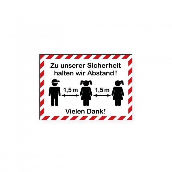 """infektionsschutz-bayern Kids Schild/Hinweistafel DINA4 """"Zu unserer Sicherheit halten wir Abstand! Vielen Dank!"""""""