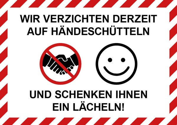 """infektionsschutz-bayern Aufkleber DINA4 """"Wir verzichten derzeit auf Händeschütteln ..."""""""