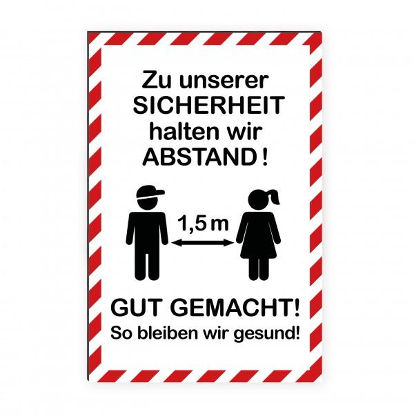 """infektionsschutz-bayern Kids Schild/Hinweistafel 40x60cm Hochformat """"Zu unserer Sicherheit halten wir Abstand! Gut gemacht!"""""""