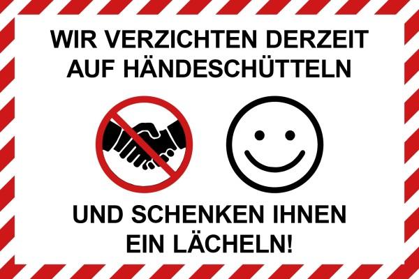"""infektionsschutz-bayern Schild/Hinweistafel 60x40 cm """"Wir verzichten derzeit auf Händeschütteln ..."""""""