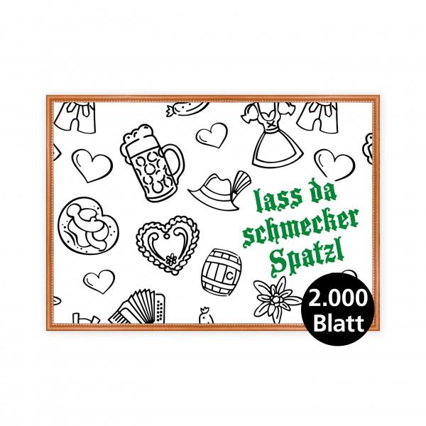 """infektionsschutz-bayern Papiertischset """"Kids Lass da schmecker Spatzl grün"""""""