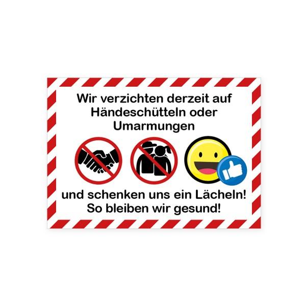 """infektionsschutz-bayern Aufkleber DINA4 """"Wir verzichten auf Händeschütteln ..."""""""