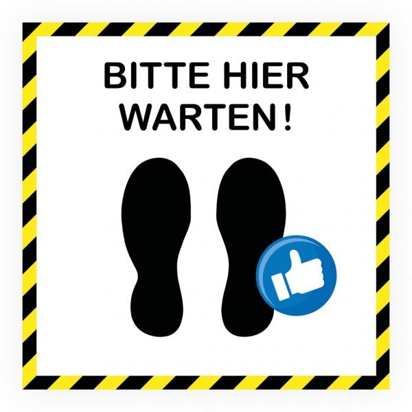 """infektionsschutz-bayern Bodenaufkleber/Antirutschaufkleber Indoor """"Bitte hier warten!"""""""