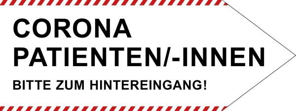 """infektionsschutz-bayern Schild/Hinweispfeil 80x30 cm """"Corona-Patienten/-innen, Bitte zum Hintereingang!"""" - Rechts"""