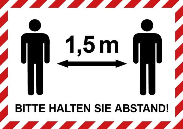 """infektionsschutz-bayern Aufkleber Aufkleber DINA4 """"Bitte 1,5 m Abstand halten!"""" - mit Männchen"""